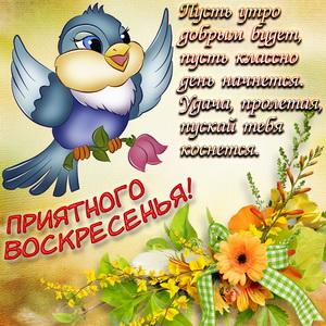 Птичка желает приятного воскресенья