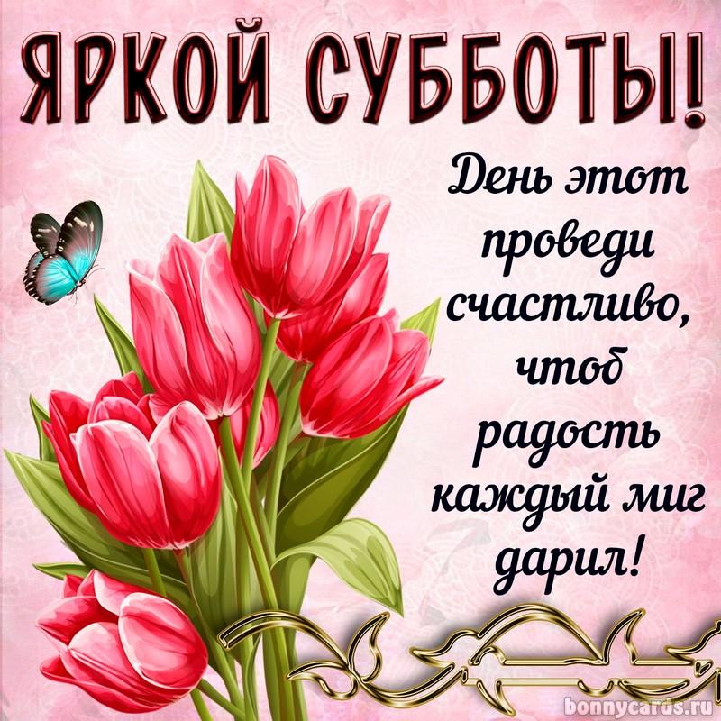 Открытка - букет тюльпанов и красивое пожелание яркой субботы