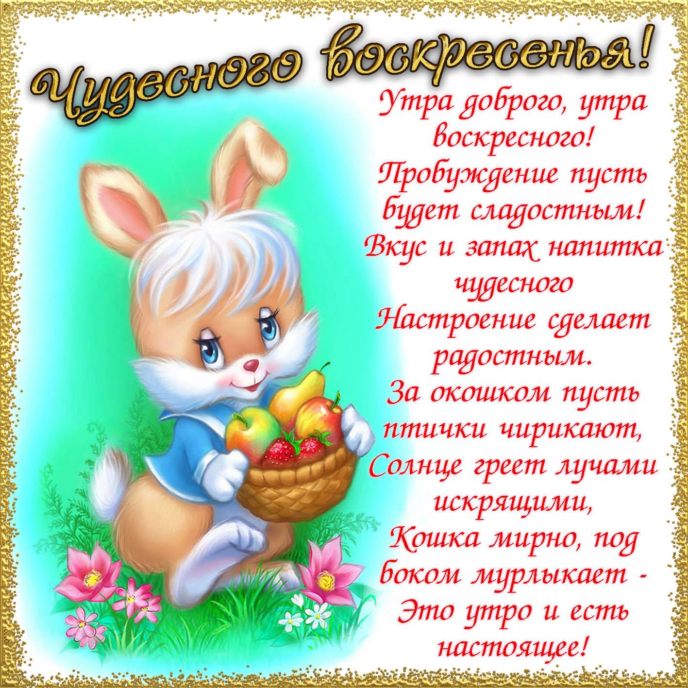 Открытка - зайчик и пожелание чудесного воскресенья