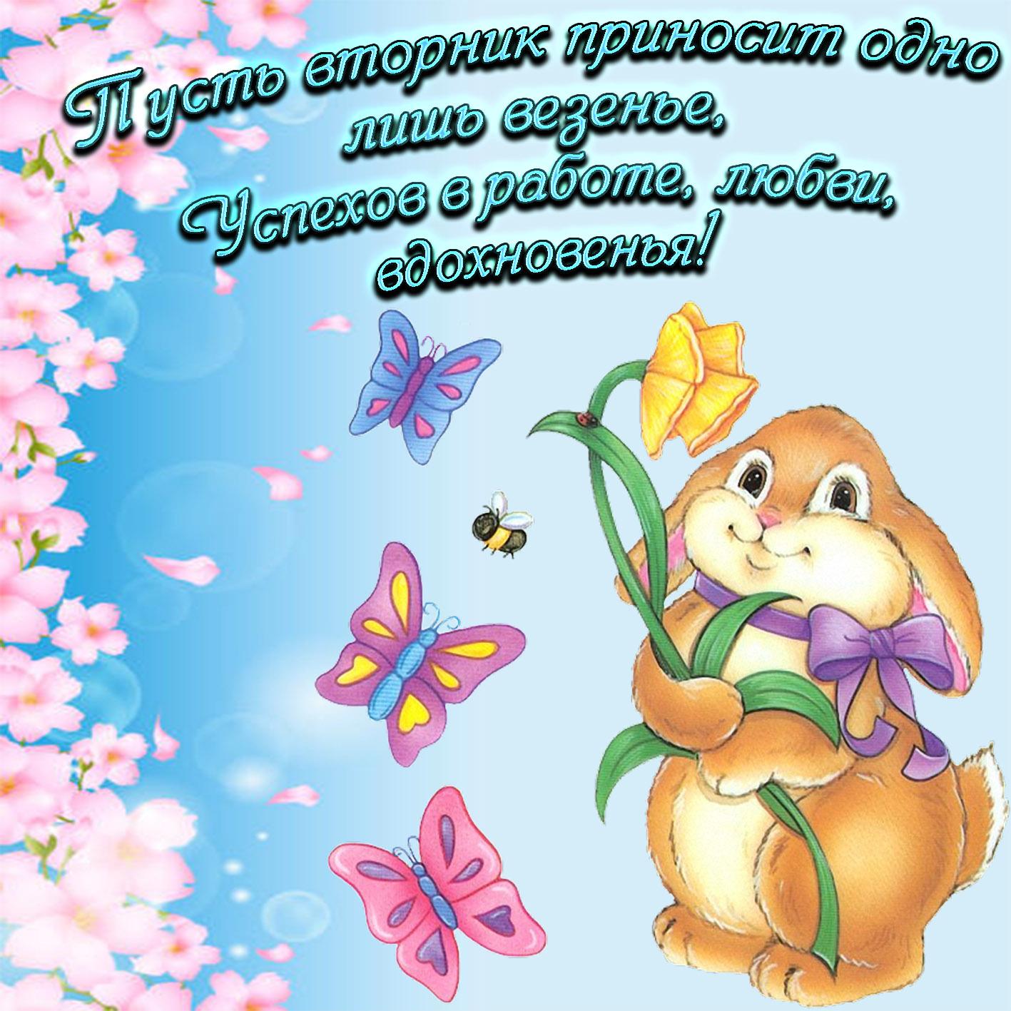 Зайка с цветочком и пожелание на вторник
