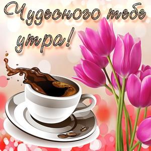 Картинка с тюльпанами и чашкой кофе