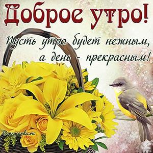 Открытка доброе утро с корзинкой цветов и птичкой