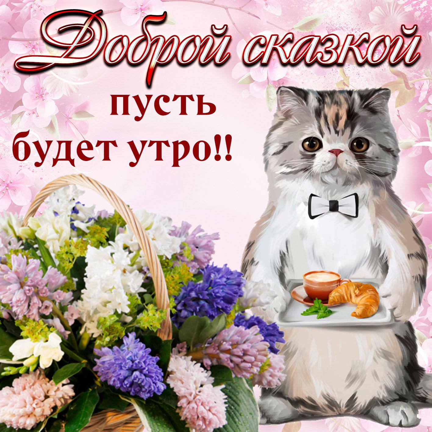 Открытка - милый котик и пожелание на утро