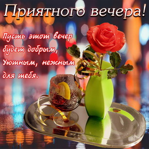 Пожелание приятного вечера с розой