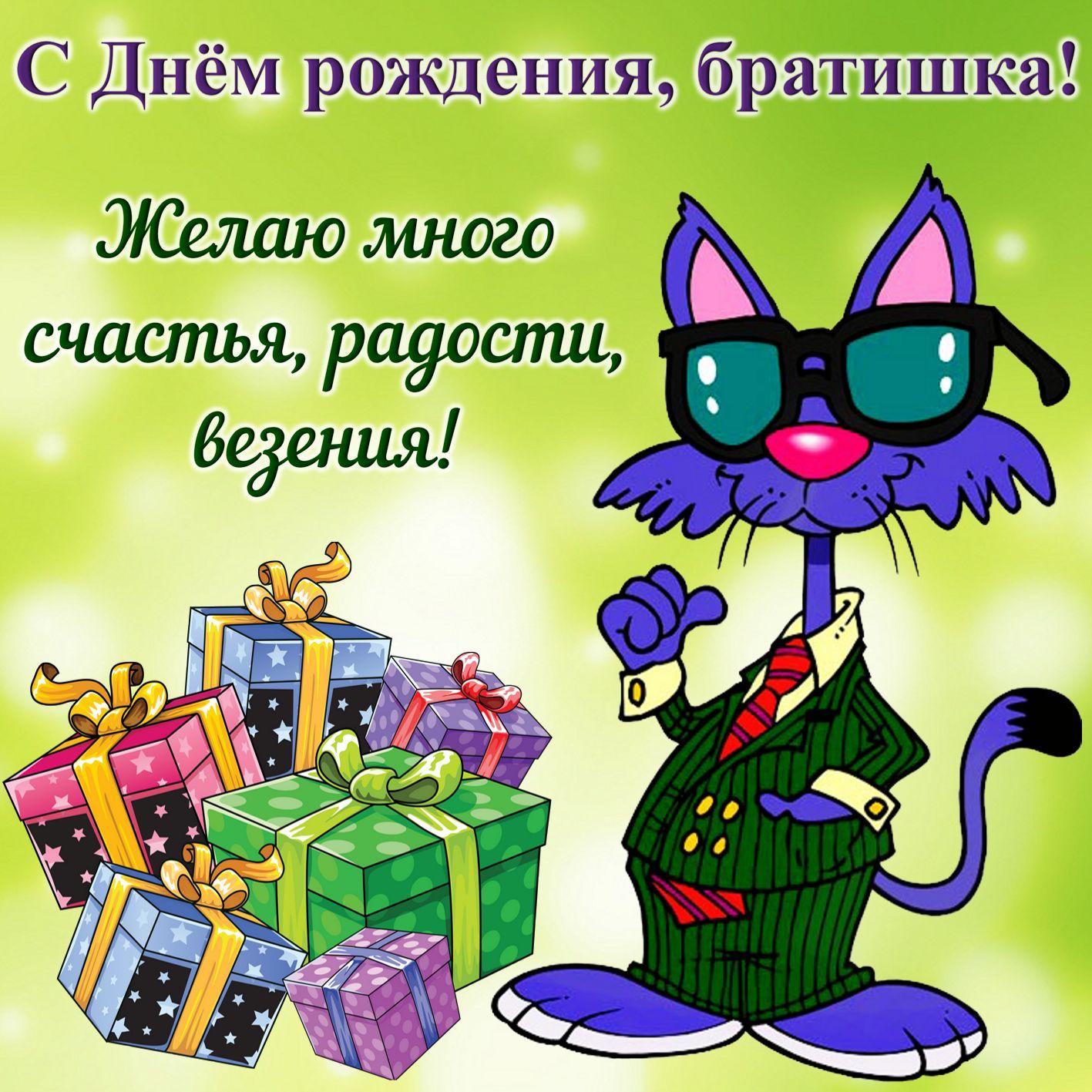 Открытка на День рождения брату - прикольный кот в костюме и подарки