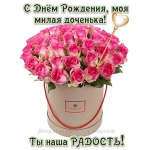 Открытка с яркими розами дочери на День рождения