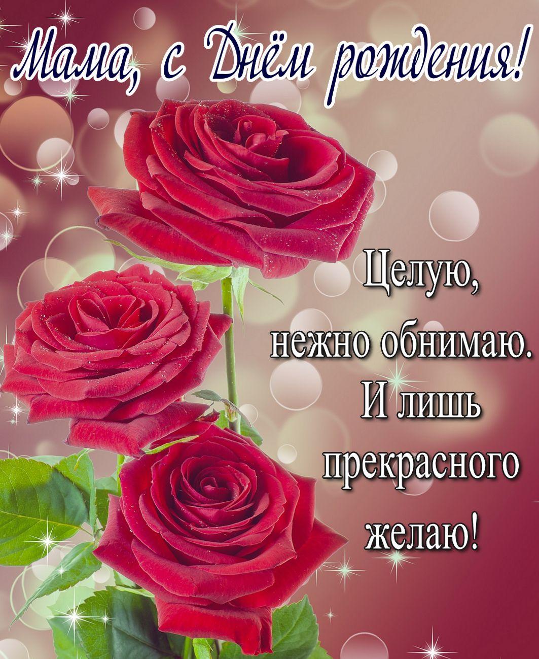 Открытка с красными розами для мамы