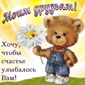 Забавный медвежонок с ромашкой