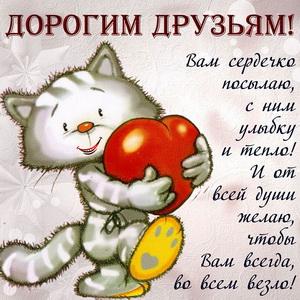 Котик несёт сердечко своим дорогим друзьям