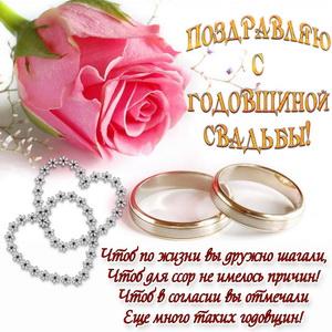 Пожелание, роза и кольца на годовщину свадьбы