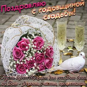 Открытка с розами и фужерами шампанского