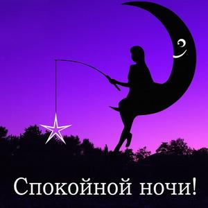 Силуэт девушки со звездой на луне