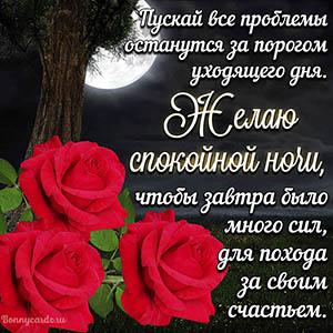 Картинка спокойной ночи с розами под деревом и луной