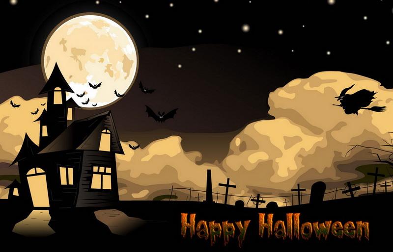 Открытка на Хэллоуин со старым домом и кладбищем