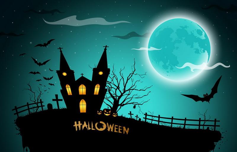 Открытка - луна, замок, кладбище на Halloween