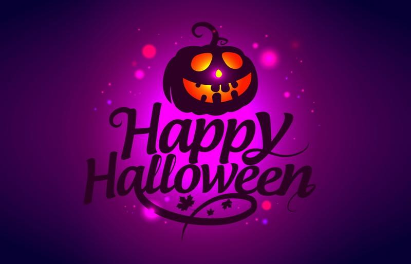 Открытка - тыква и надпись Happy Halloween
