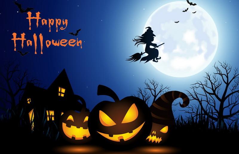 Открытка на Хэллоуин - ведьма на метле на фоне полной луны