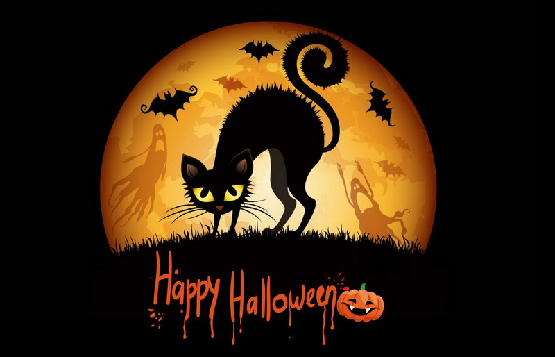 Открытка на Хэллоуин - черная кошка, летучие мыши и привидения