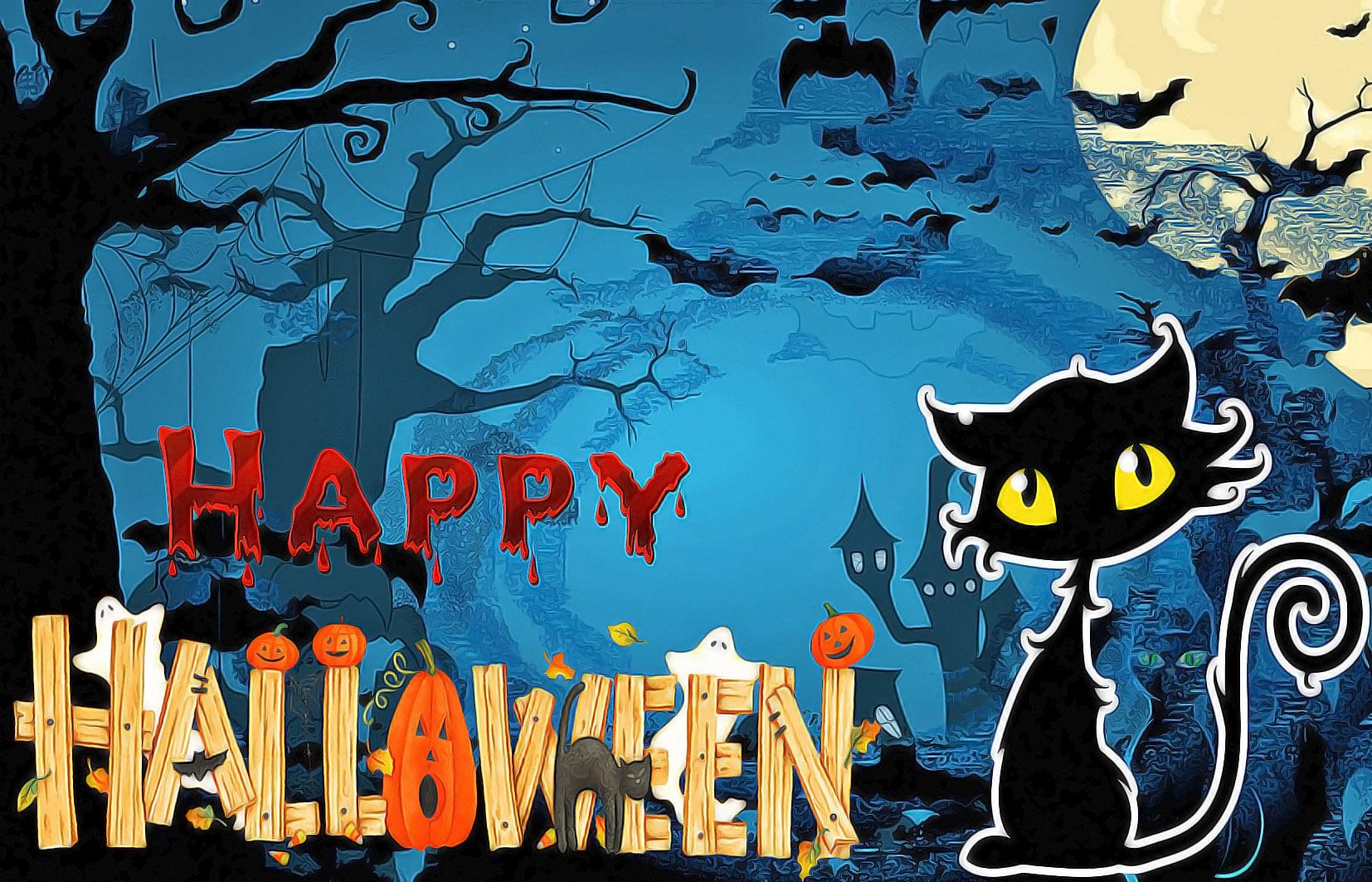Открытка на Хэллоуин - чёрный кот в красивом оформлении