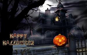 Открытка Happy Halloween c замком и тыквой