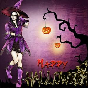 Открытка с ведьмой на Хэллоуин
