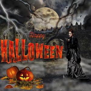 Картинка на Хэллоуин с мрачным замком