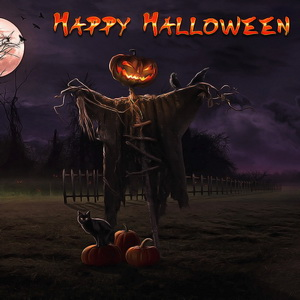 Пугало с тыквами под луной на Хэллоуин