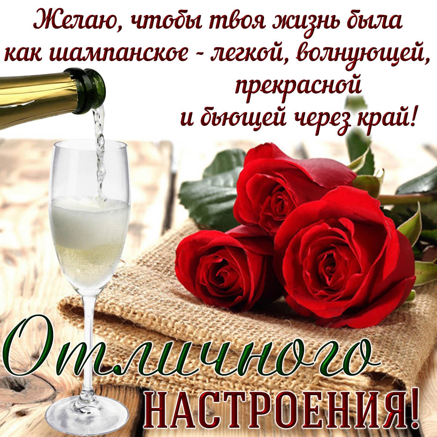 Картинка отличного настроения с красными розами и шампанским