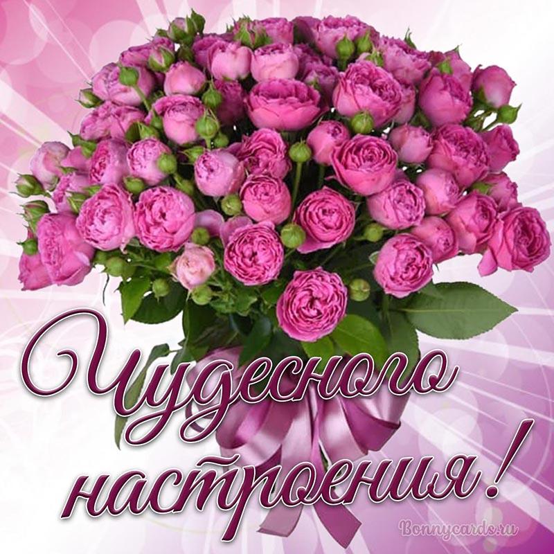 Открытка чудесного настроения с букетом из роз
