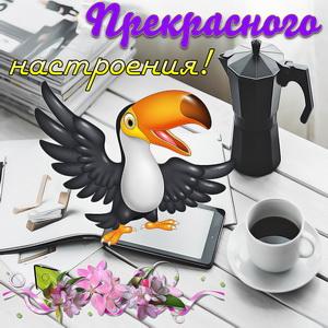 Открытка с красивой птичкой на столике