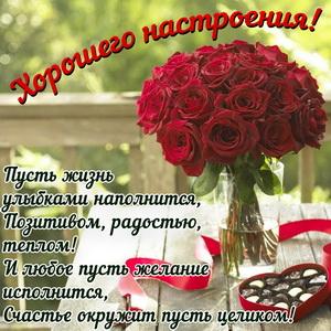 Красивый букет красных роз и пожелание