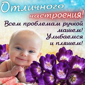 Картинка с малышом среди цветочков