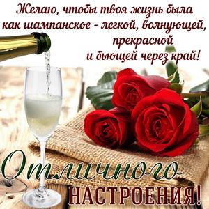 Картинка с красными розами и шампанским