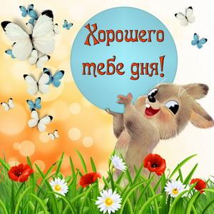 Зайчик среди цветов и бабочек