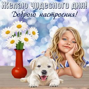 Открытка с девочкой и собачкой