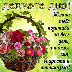 Картинка с корзиной цветов для позитива