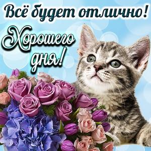 Милый котик с букетом желает хорошего дня