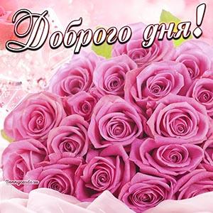 Картинка доброго дня с огромным букетом роз