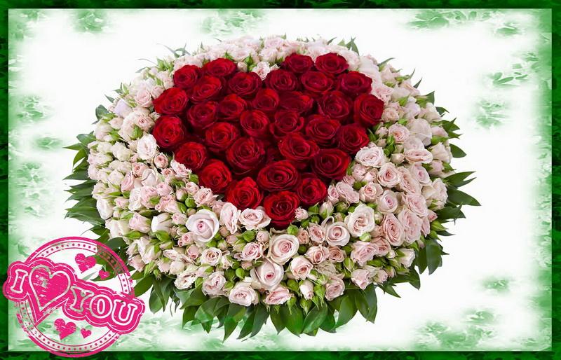 Открытка с сердечком из красных роз