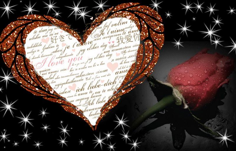 Открытка - сердце и роза на красивом темном фоне