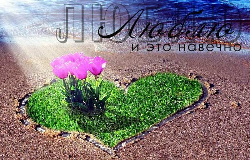 Открытка - сердечко из травы с цветами на песке