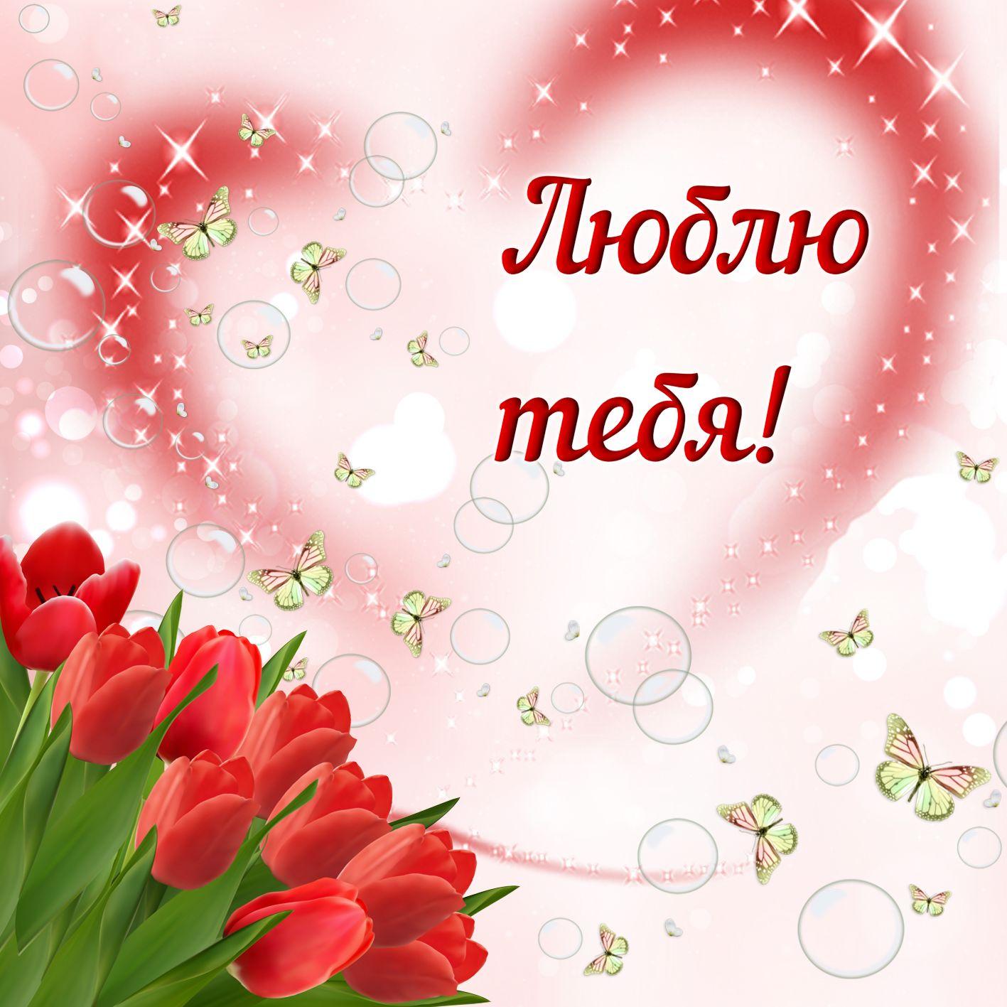 Красивая, люблю тебя красивая открытка