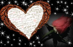 Сердце и роза на красивом темном фоне