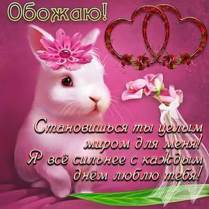 Белый кролик на красивом фоне