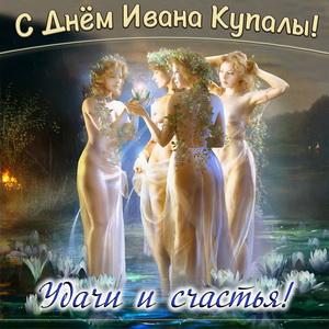 Картинка с девушками в ночи среди кувшинок