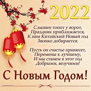Открытка с пожеланием и фонариками на Новый год