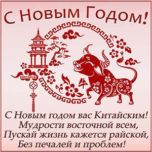 Картинка с быком и стихами на Китайский Новый год