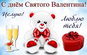 Белый мишка, подарок и шампанское