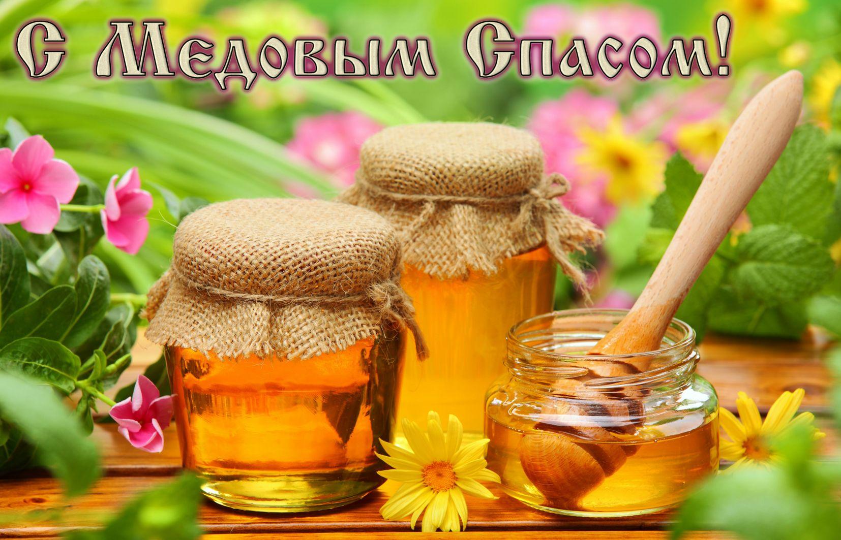 Открытка с медом в ярком оформлении на Медовый Спас