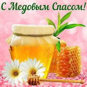 Открытка с ромашками и медом